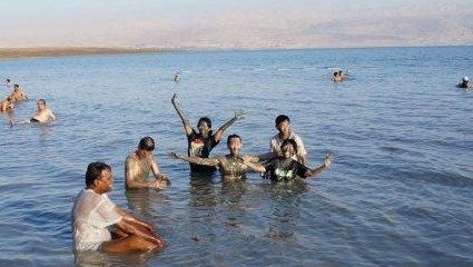 Having fun in the Dead Sea