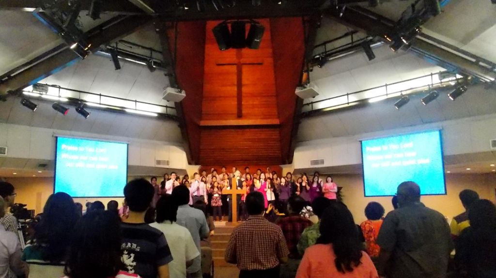 The praise and worship at the beginning of the service