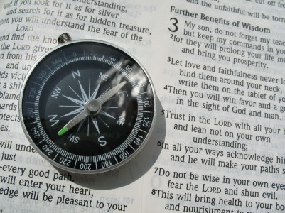 compass and bible