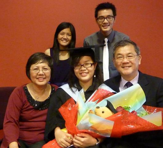Graduation photo with family