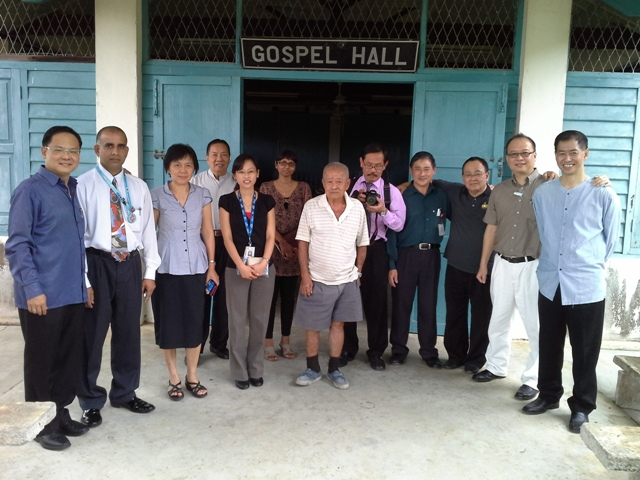 FGB team fellowshipping with the new CF. From left to right: Eddy, John, Dr Sue, Edmund Chan, Anna, Dr Monica, Uncle who offered the gospel hall, Sebastian, Matthew, Charlie, Daniel, Rick