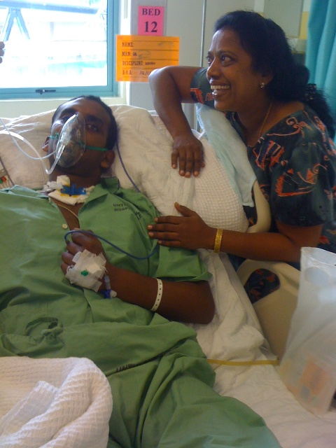 Mishael with his mother, Mary at the High Dependency Ward