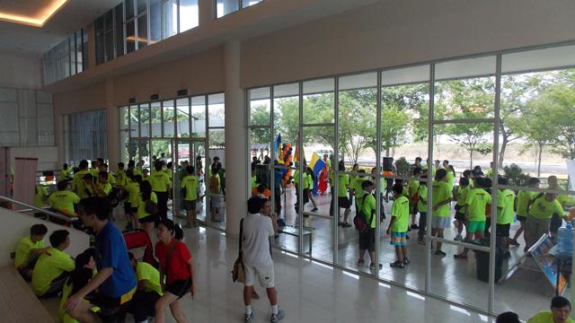 The busy entrance hall filled with runners who completed the run