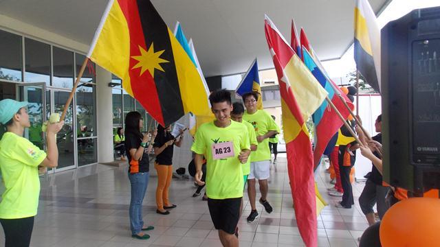 The runners running through the finish line