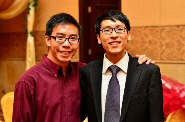 Jeremy Tan (left) with his friend