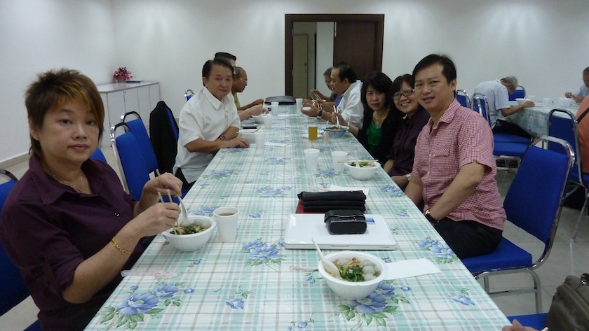 Eugene Tan having lunch with TA One Chapter Fellowship brothers and sisters-in-Christ