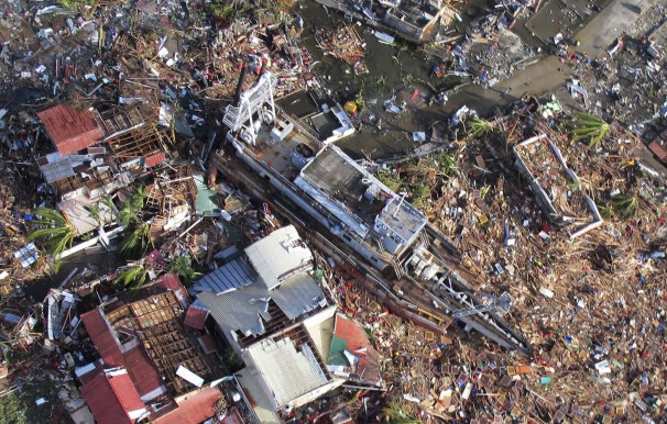 Aerial view of the ravaging effects of Typhoon Haiyan