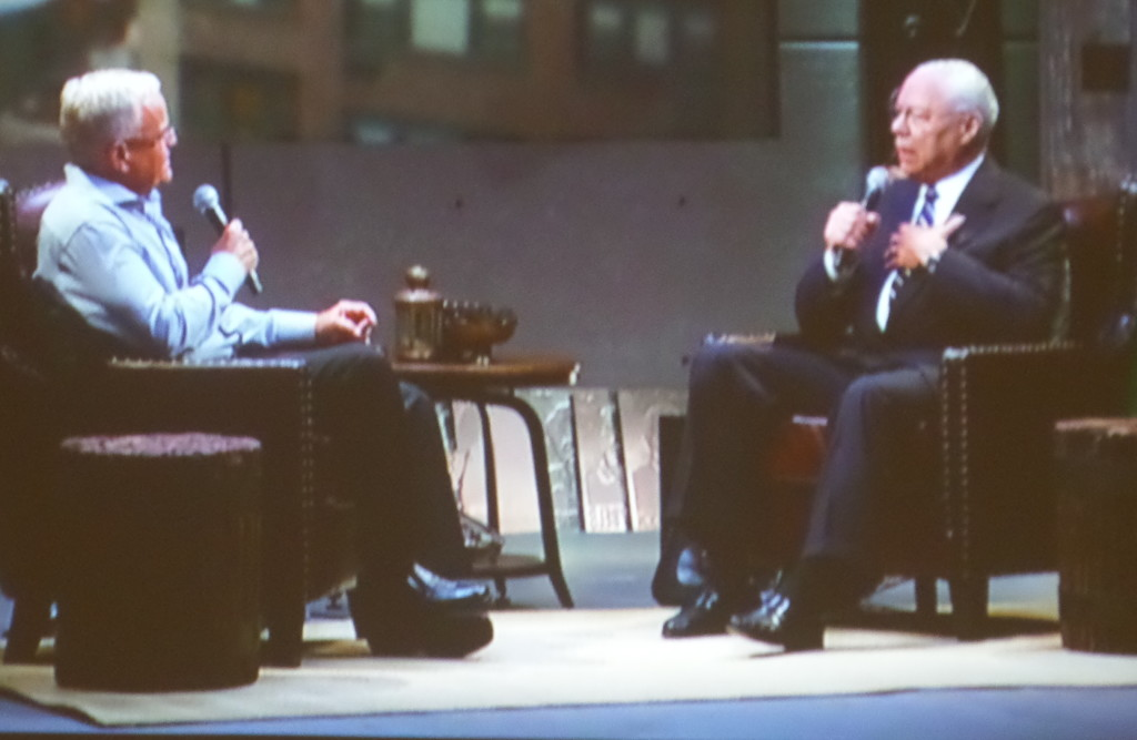 Colin Powell (right) sharing about his life experiences
