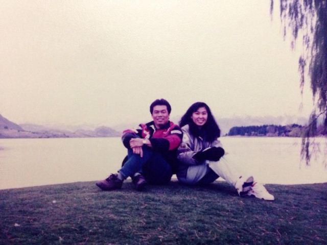 Wei Leng with her husband in a holiday at New Zealand