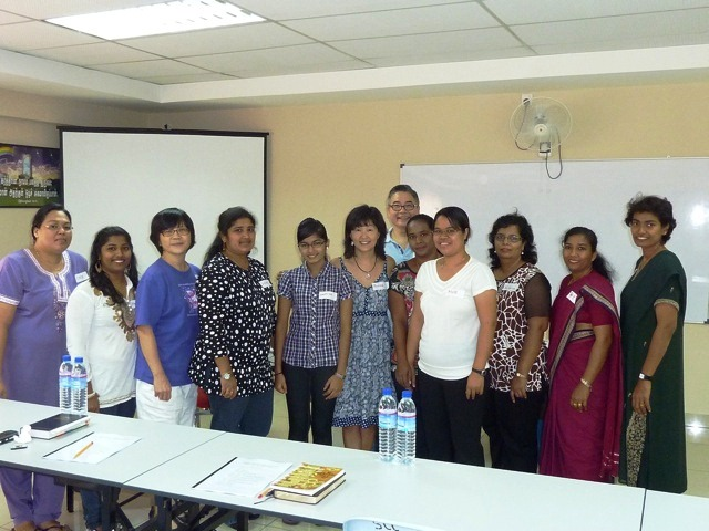 Pauline Pang (6th from right) training teachers in Johor earlier this year