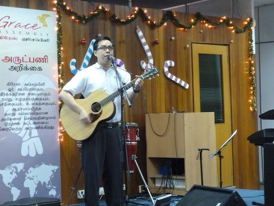 Musician leading worship