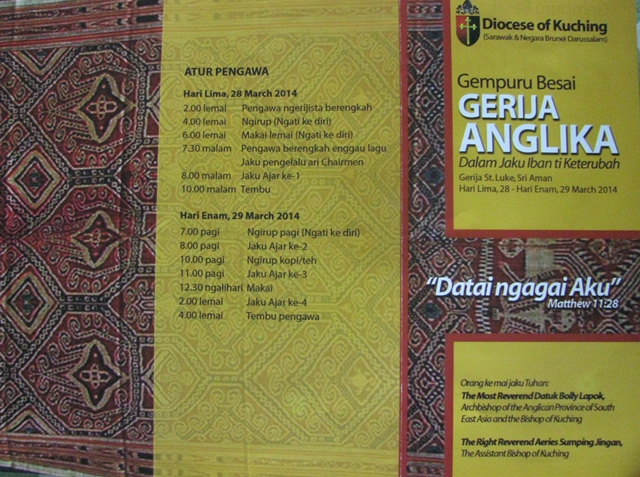 The Gempuru Besai Gerija Anglika will be held at St Luke's Church, Sri Aman.