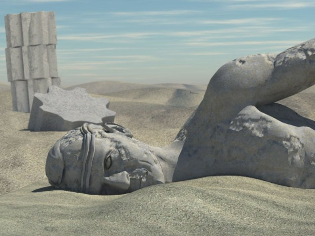 Artist depiction of the wrecked statues in Egypt