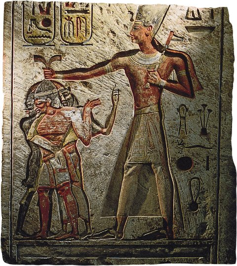 Relief depicting King Ramses II smiting his enemies