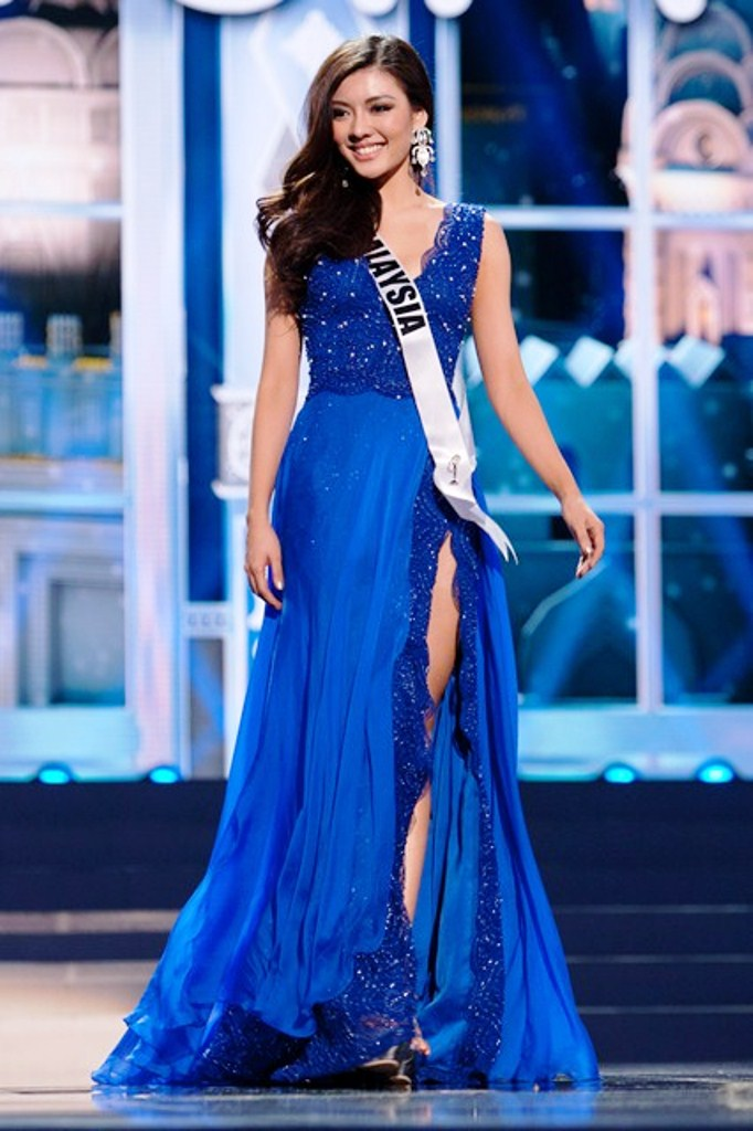 Carey Ng, Miss Malaysia 2013, poses in the evening gown during the Preliminary Competition at Crocus City Hall on November 2013