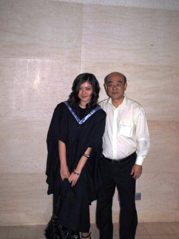 Carey Ng with her father when she graduated with a degree in architecture from UK