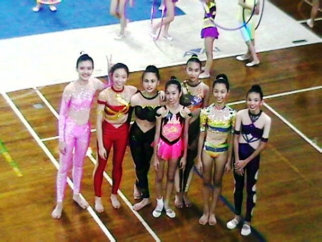 Carey Ng (far left) as a gymnast