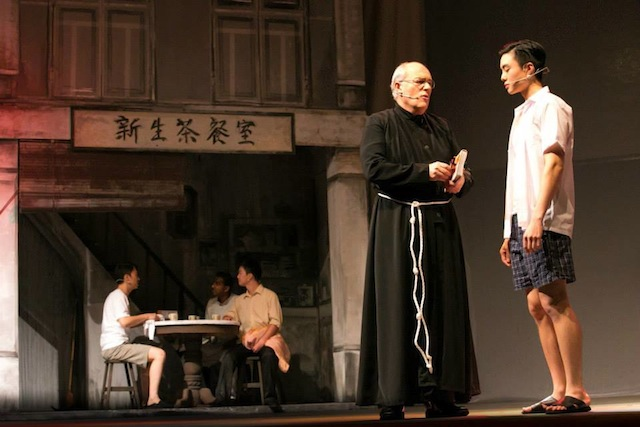 Father Pat telling Ah Cheng about the agape love of God, which covers the most irreconcilible family feud