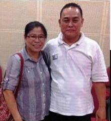 State Matron Fu Choon Kee, speaker at FBC Chapel, Kuching (left) with Isaac Tan