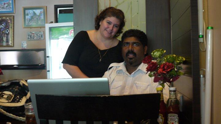DJ (left) and her husband Dev