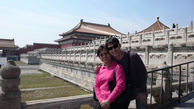 Alan Yun (right) visiting China with his mother