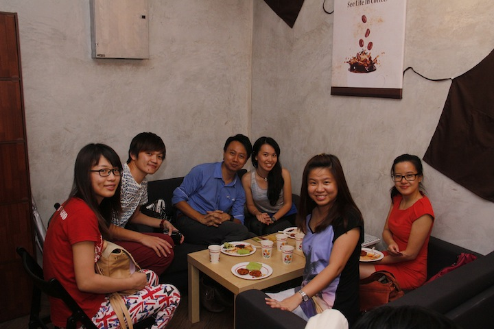 Vivien Chong (4th from left) lounging at the inner room of LIFE TREE for a private space