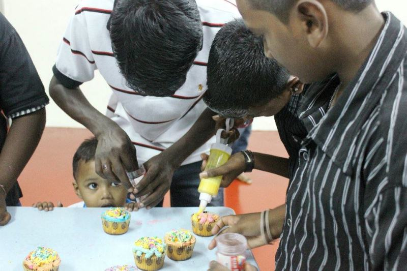 Children learning the art of baking