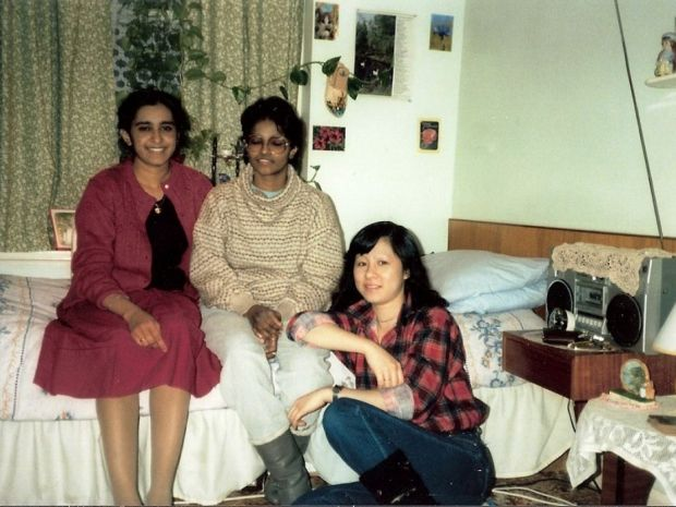Kalbi (far left) with her friends at the nurses' home