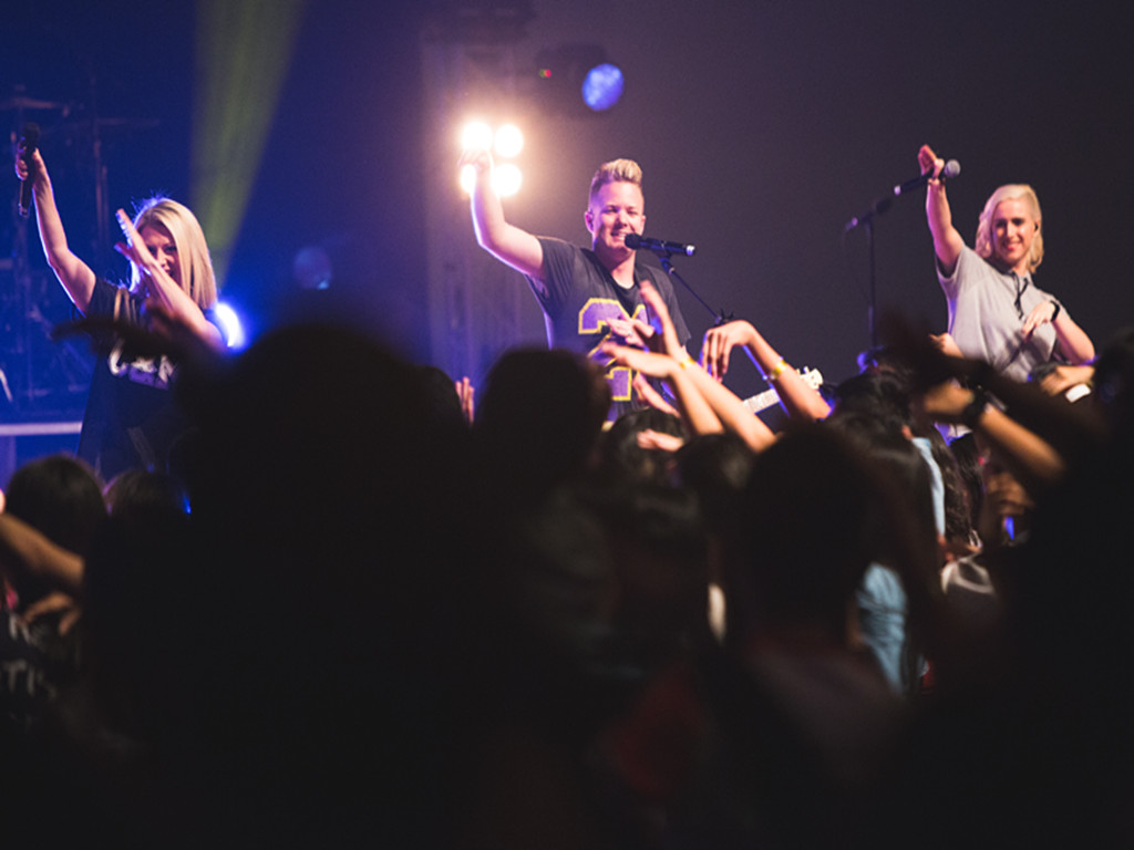 Pr Sam Evans (most left) at the Planetshakers Awakening Conference in DUMC