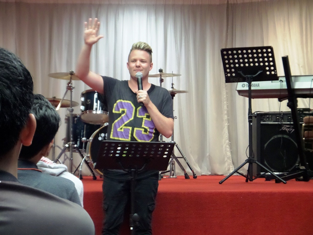 Joth Hunt answering questions from the attendees of the Planetshakers Awakening Conference in DUMC