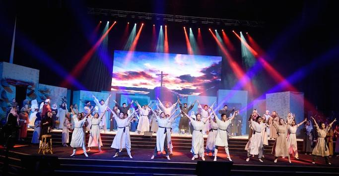 The exuberant dancers of the Easter production in Calvary Convention Centre