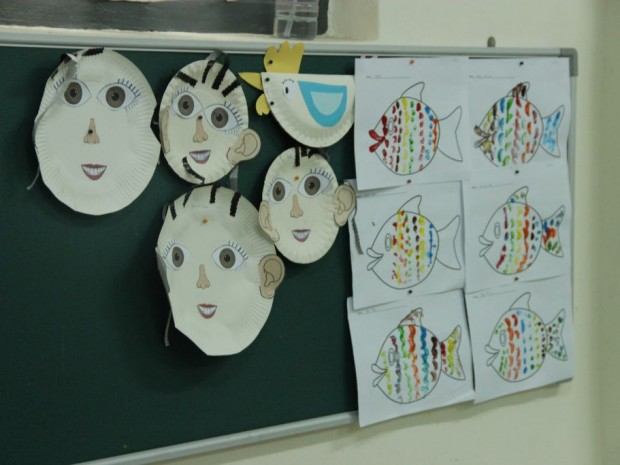 Some arts and crafts by the school aged children