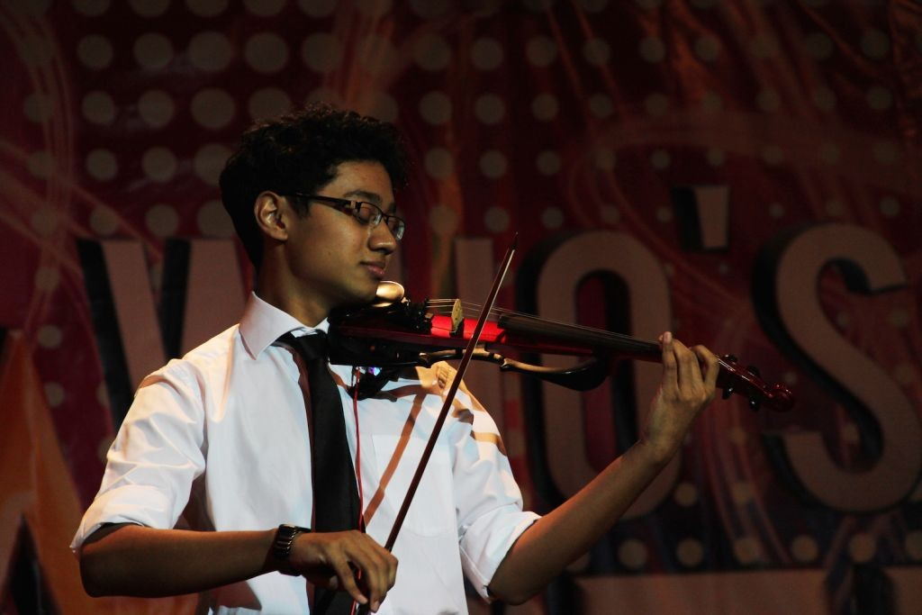 Hari  a/l S. Shankar getting lost in his piece with the electric violin