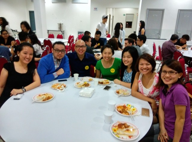 Worshippers enjoying a meal together