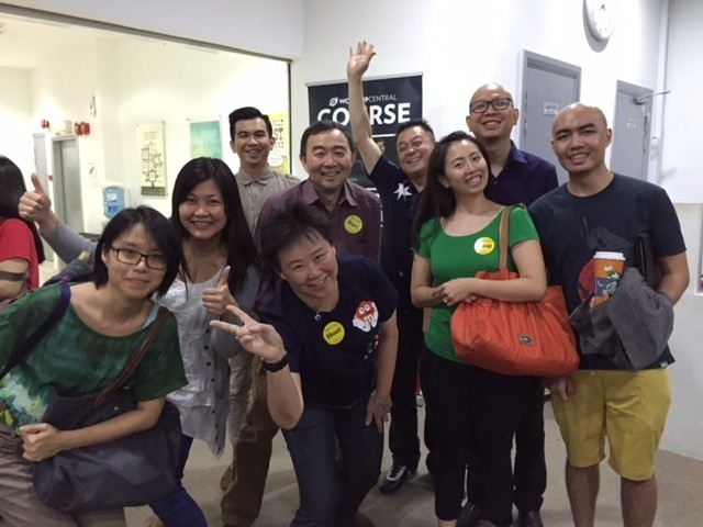 Pastor Wong Sum Keong (4th from left) with the attendees of Worship Central