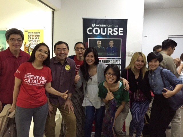 Pastor Wong Sum Keong (2nd from left) with the attendees of Worship Central