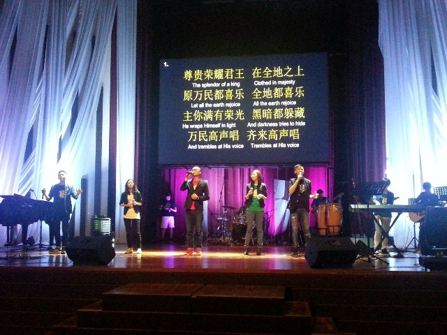 Worshippers from the Abundant Church, KL singing in mandarin
