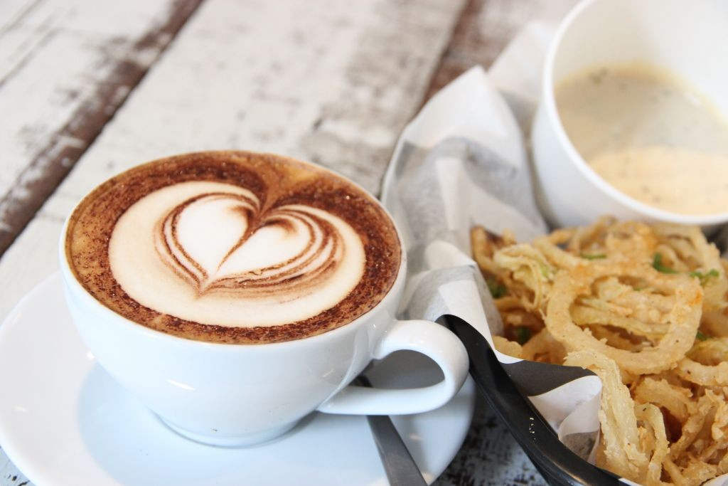 Delicious Onion Rings and Cappuccino from the Project B menu