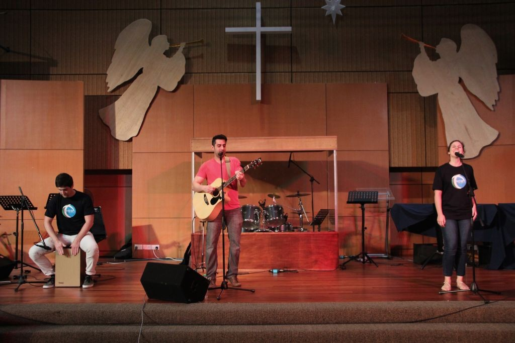 The worship team, led by Jarod Espy
