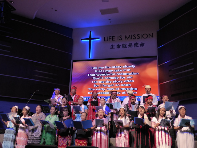 The choir of KLBC, singing in the morning service