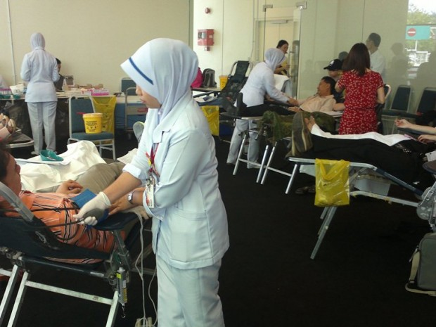 Nurses from the National Blood Bank assisting donors at the Calvary Convention Centre last year