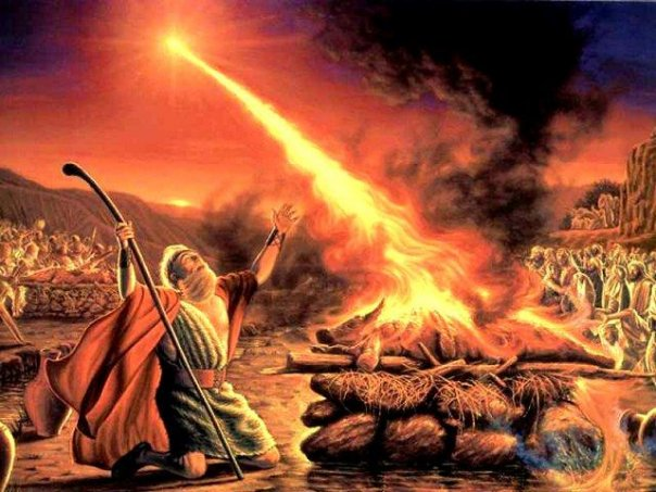 Elijah praying for the revival of fire from the Heaven on Mount Carmel before the 450 prophets of Baal and the 400 prophets of Asherah | Ref: pegponderingagain
