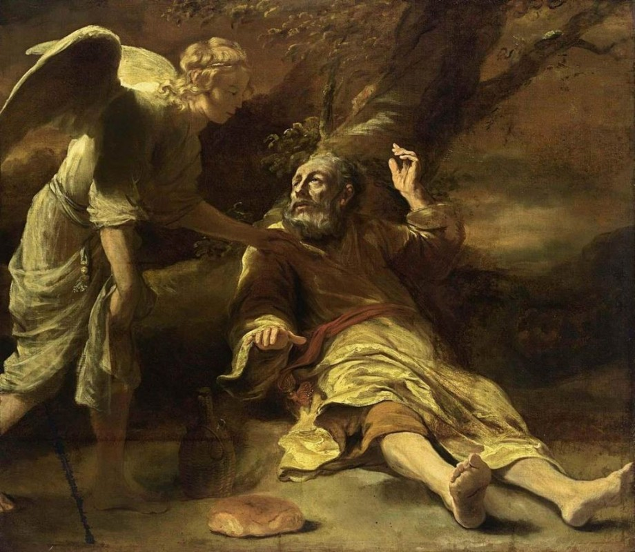 An angel touching Elijah to get up and eat at a time when he was running for his life away from Jezebel who killed all the prophets of the Lord except him | Ref: bible-library