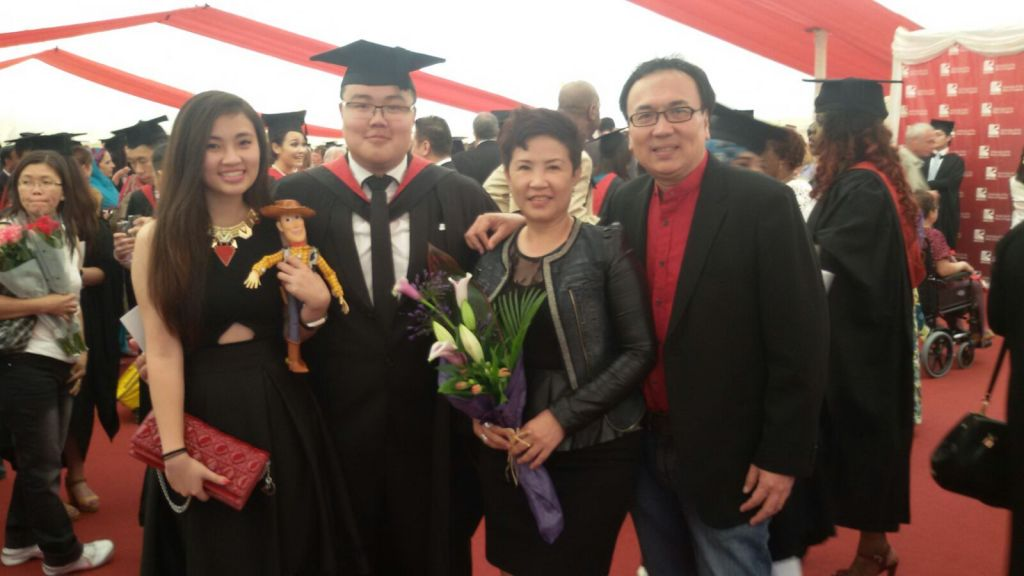 Dato' Sri Michael Chong (most right) at his son Aaron's graduation, with his wife Rachel and daughter Faith
