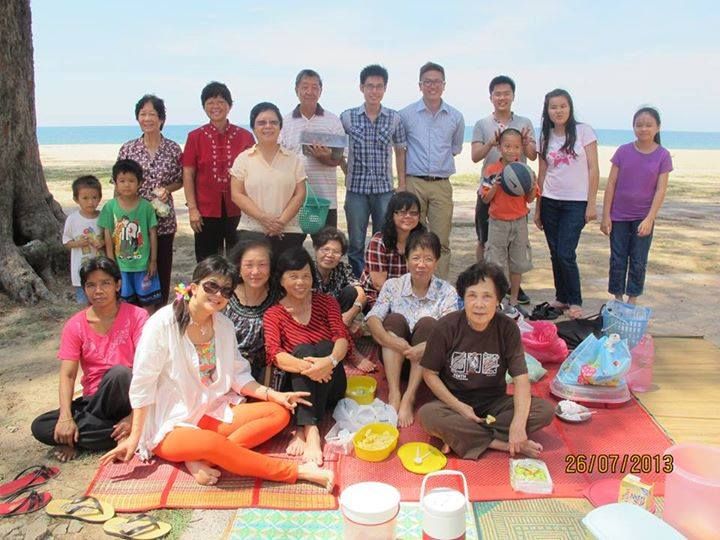 One of the cell groups of the church having a picnic in Kuala Terengganu