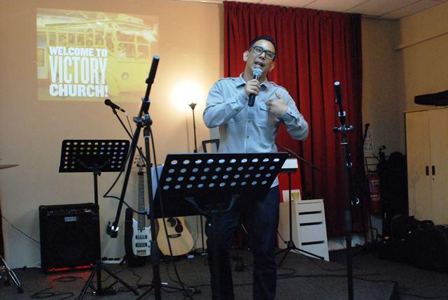Pastor Ramesh Kumar preaching the Word