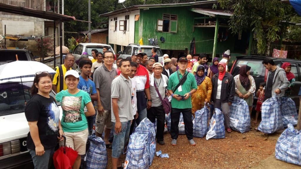 The team quickly delivering supplies to areas badly affected by the flood