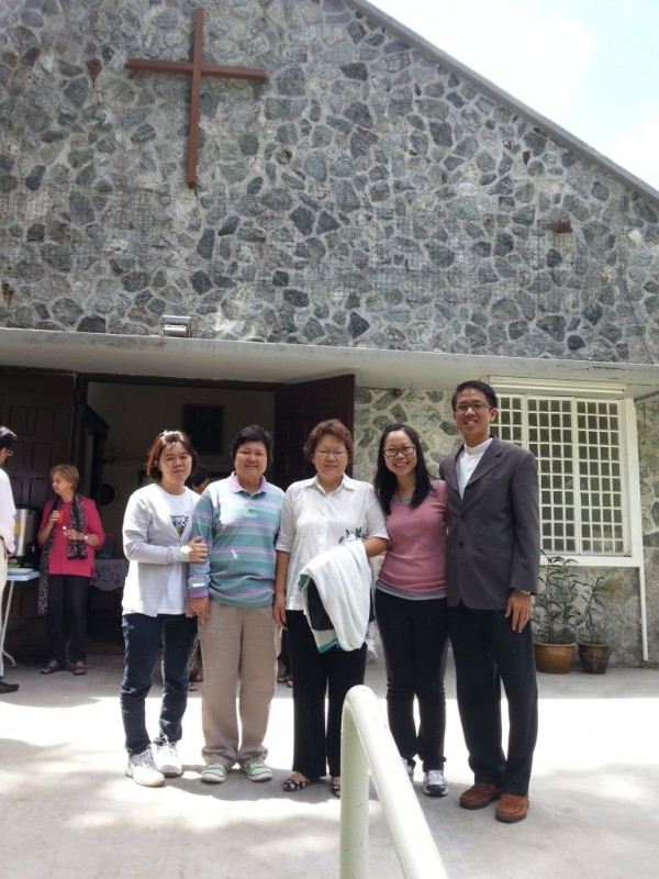 Pastor Simon (far right) with his wife Choo Pei Ting (2nd from right) in his former church in Cameron Highlands, All Souls Church