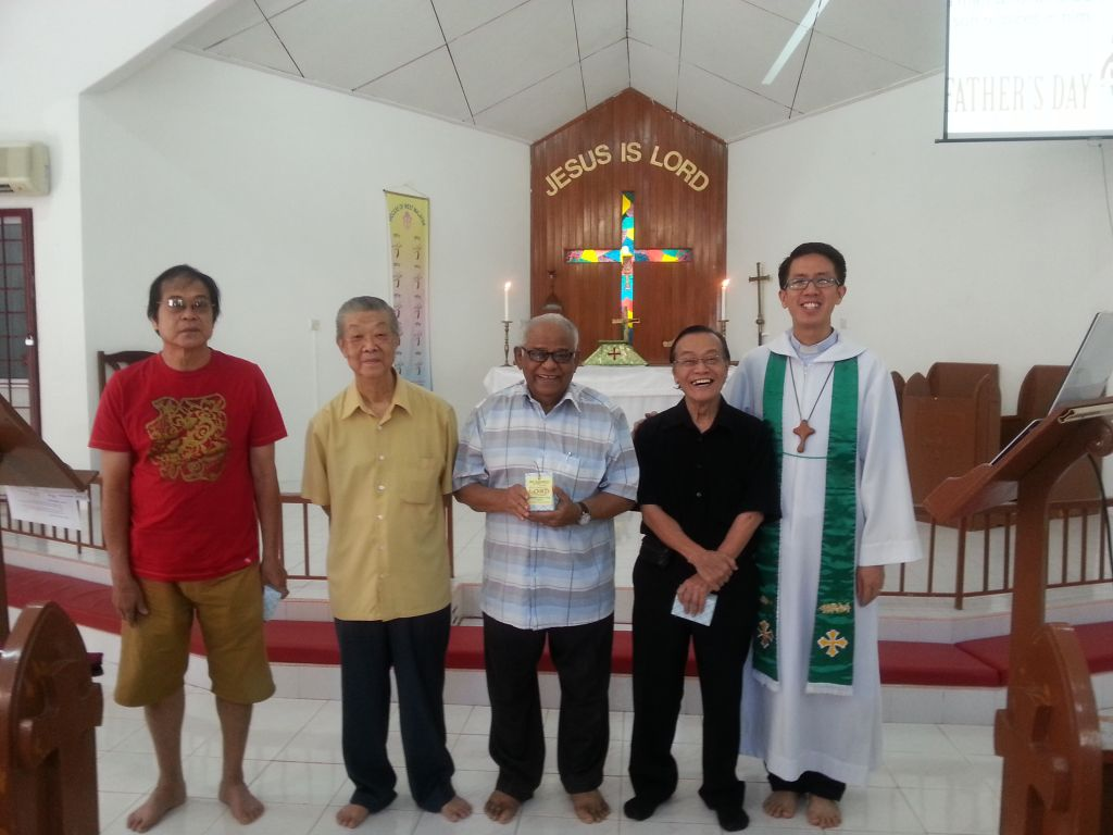 Pastor Simon Soh (far right) celebrating Father's Day with the fathers of the congregation in Saint Martin's Anglican church