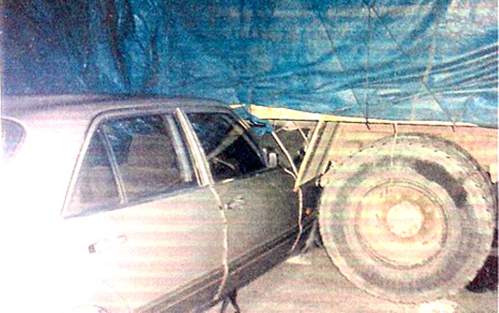 Picture of Anita's car, which rammed into a truck